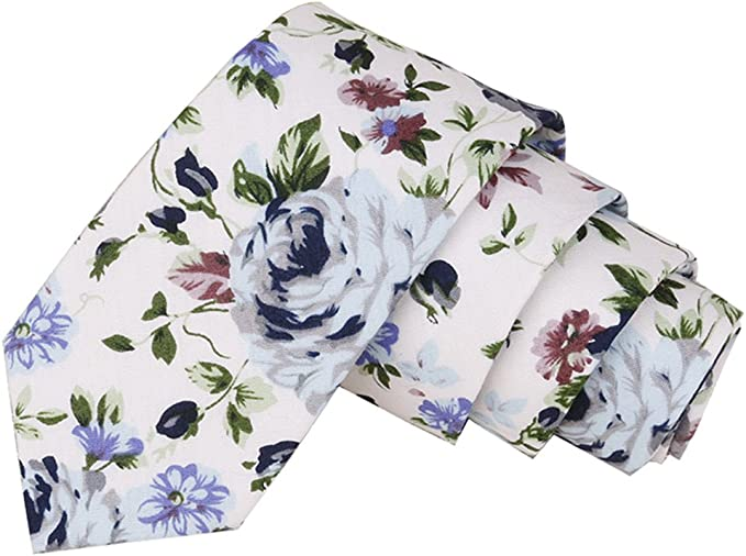 White with Purple /& Blue Floral Men/'s Skinny Tie