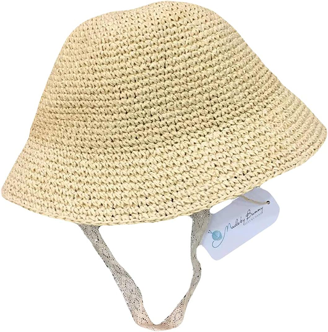 Cute Cartoon Summer Rabbit Bunny Fishman Hat Wide Brim Straw Panama Roll up Hat Foldable Kids Girls Women