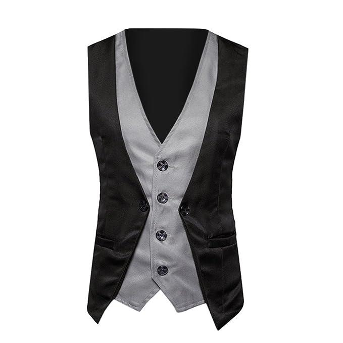 af47f56b3bad1 Fake Two-Piece Suit Vest for Men s Double Breasted Pocket Stripe Fit Blazer  Vest Top