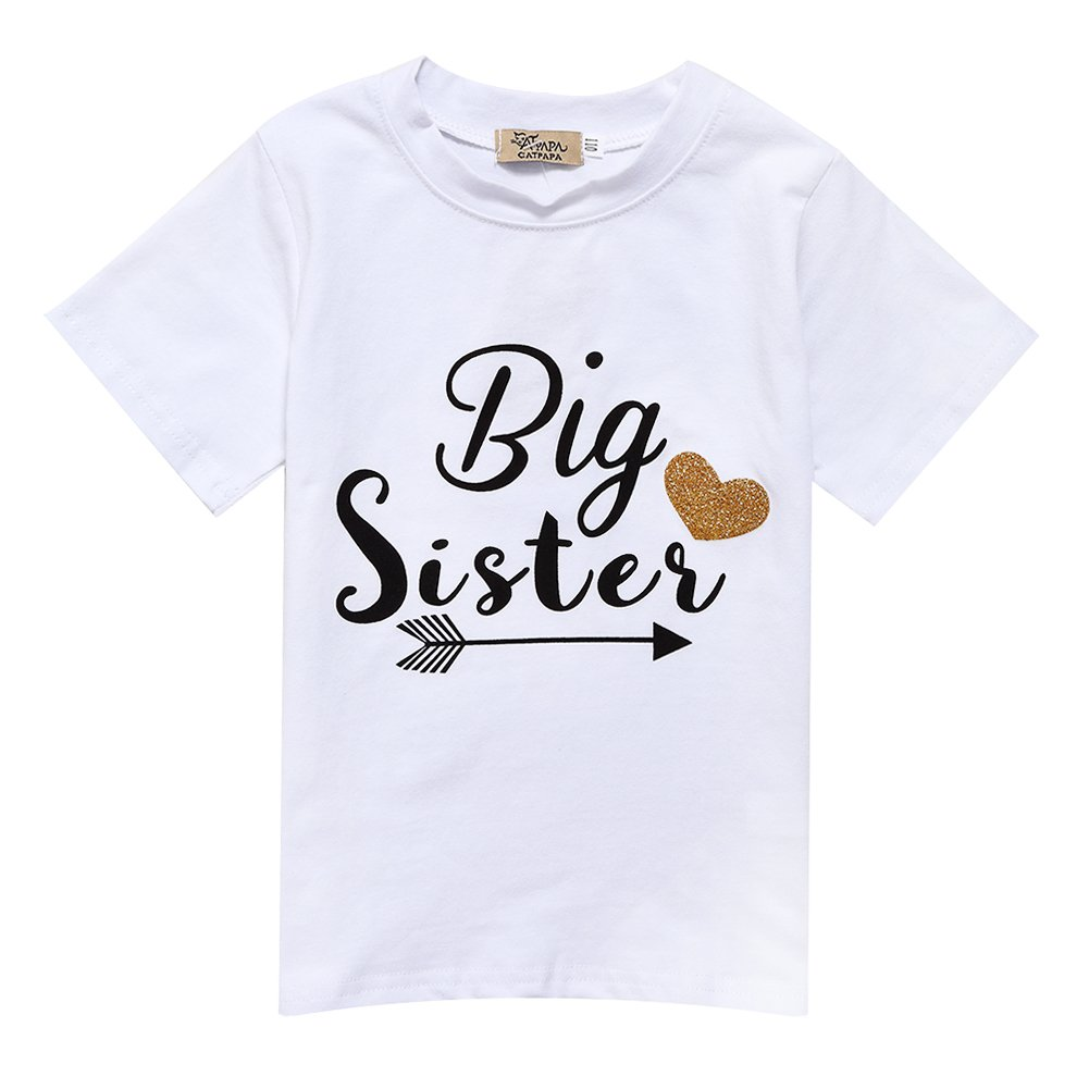 Girls' Big Sister Letter Arrow Pattern T-shirt Short Sleeve Cotton Tops Gprince
