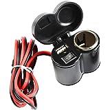 バイクUSBポート  シガーソケット Idealeben  シガーライターとUSBポート2in1仕様USB電源スマホ・ナビ同時充電 防水仕様 節電可能 12Vシガーソケット キャップ付 スイッチ付