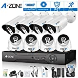 Cheap A-ZONE 8CH 1080P HD-TVI Security DVR Recorder System and (8) 1080P Outdoor Fixed Bullet/ Dome Cameras with IP67 Weatherproof Day/Night Vision, Motion Detection & Email Alert- with 2TB HDD,White