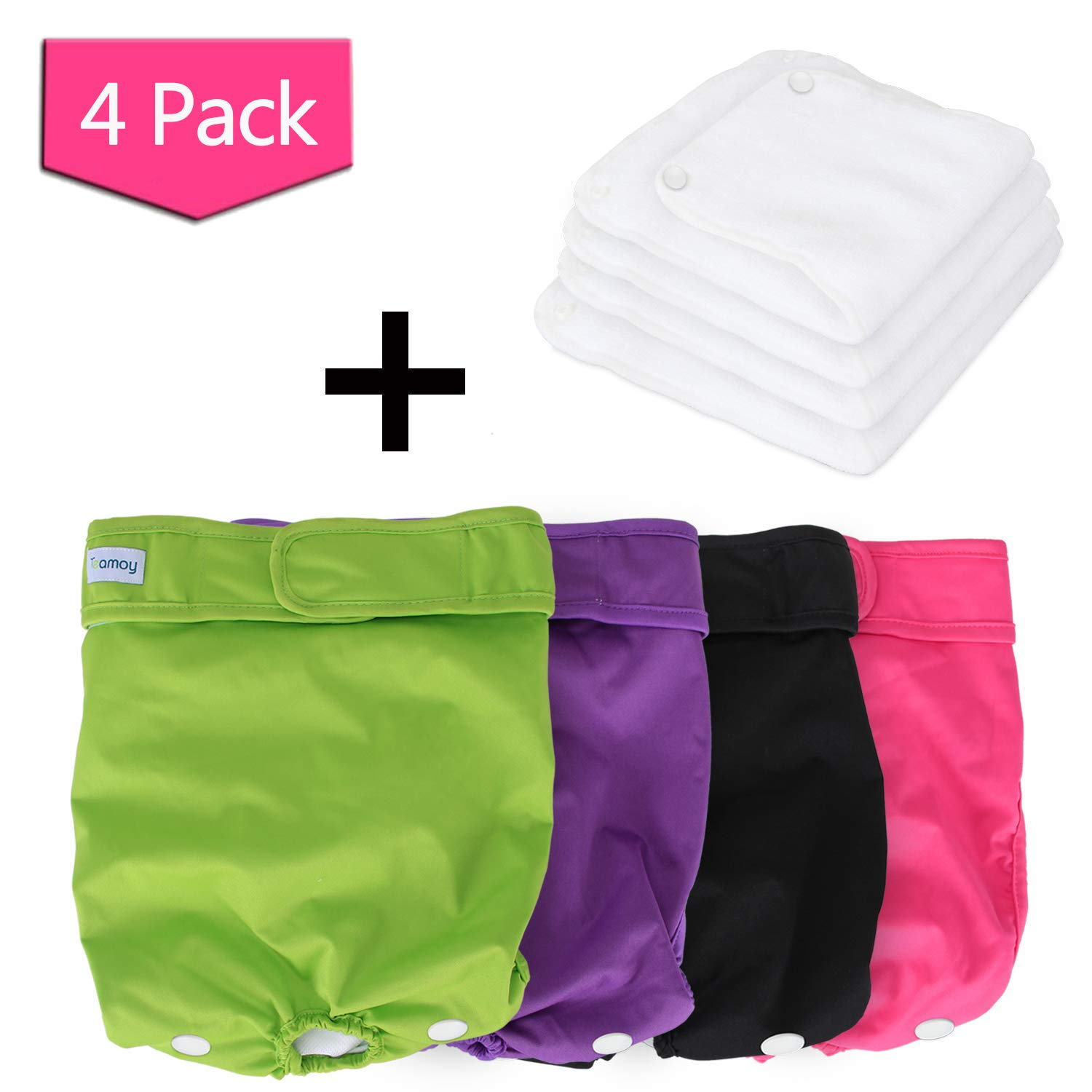 Black+ Purple+ Green+ pink Red (4pcs) XL(Fit 26\ Black+ Purple+ Green+ pink Red (4pcs) XL(Fit 26\ Teamoy Reusable Female Dog Diapers with Extra Removable Pads(Pack of 4), Washable Doggie Diaper Wraps for Female Dogs, Super-Absorbent, Comfortable and Styli