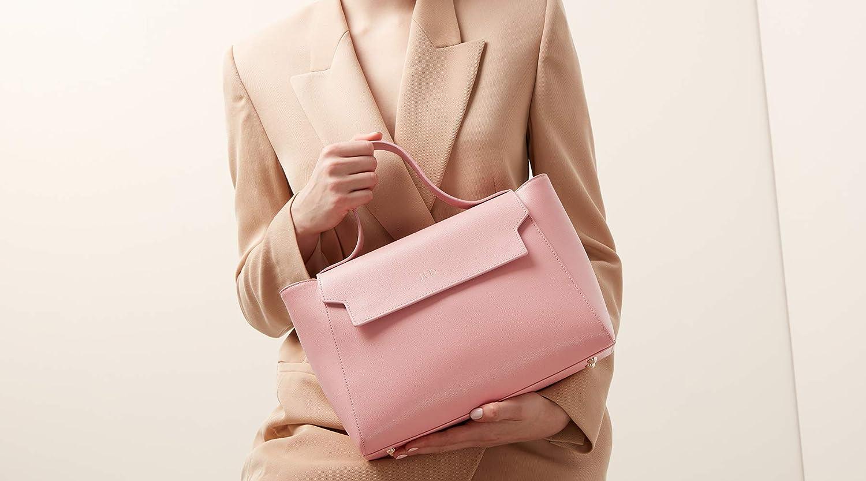 Aurora London Cara läder topp handtag tygväska för kvinnor med avtagbar rem Ljusrosa