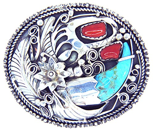 Rich Peel New Beautiful Navajo! by Artist: Mike Thomas Man Made Synthetic Turquoise and Coral,Bear Claw Buckle Men's or Women's ()