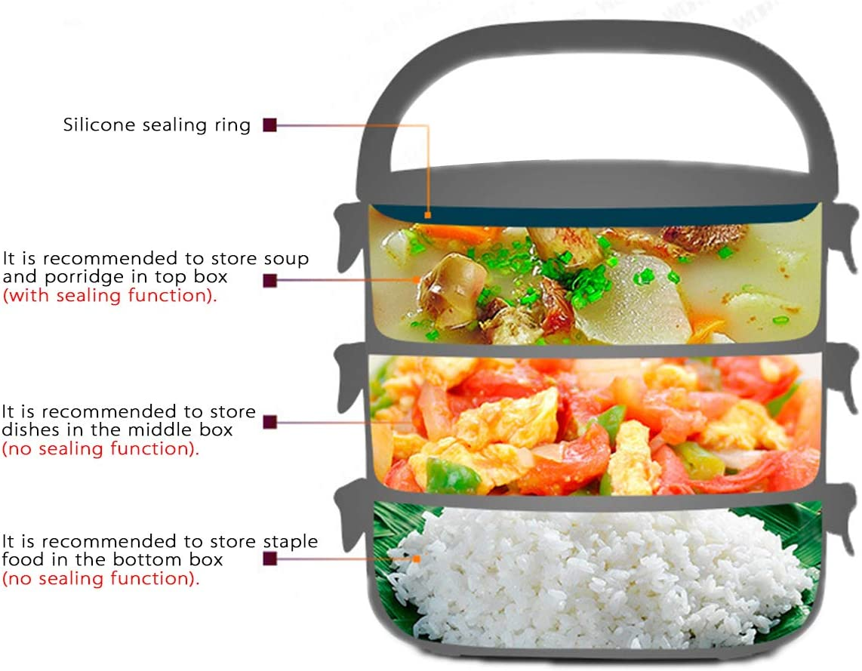Lunch Box Port/átil con Mango para Comida Fiambrera T/érmico de Acero Inoxidable Caja de Almacenamiento para Alimentos de Oficina Hombre Mujer Ideal para Adultos 3 Tier