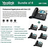 Yealink SIP-T29G Bundle of 6 Enterprise 16 Line HD IP Phone PoE support, No PSU
