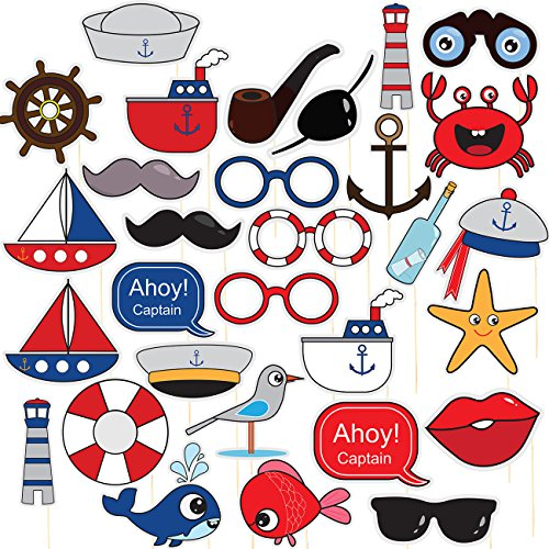 Nautical Pre-Assembled Photo Booth Props - 30-Pack Pre-Made Ocean Theme Party Supplies, Sailor Party Favors, Anchor Props, Kids Birthday Decoration Accessories on Bamboo Sticks, Assorted Designs