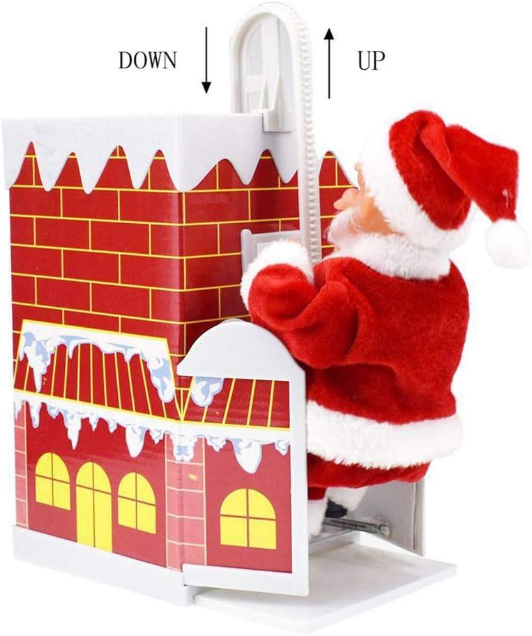 Electric Santa Claus Climbing Chimney Christmas Xmas Musical Figurine Club Decor