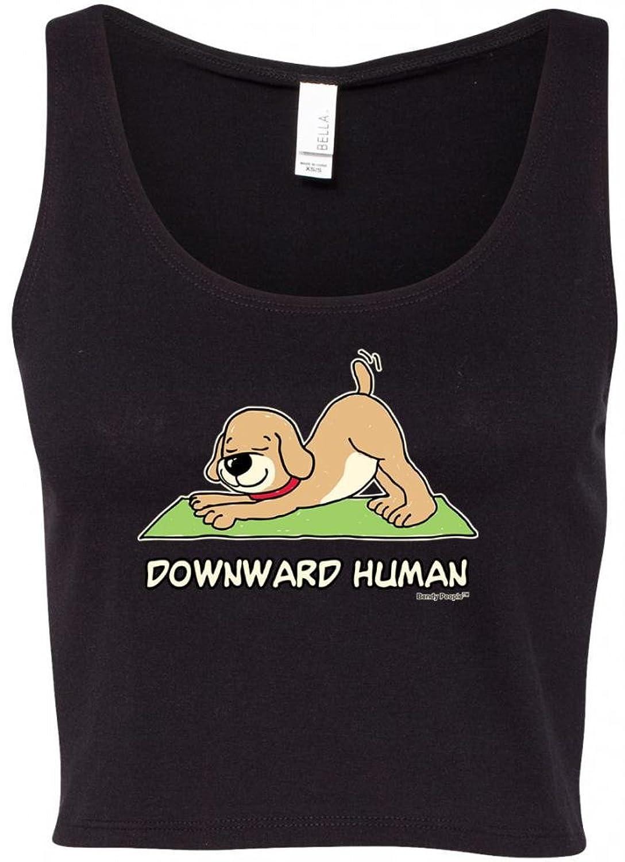 """""""Bendy People"""" Ladies Downward Human Yoga Crop Tank Top Tee"""