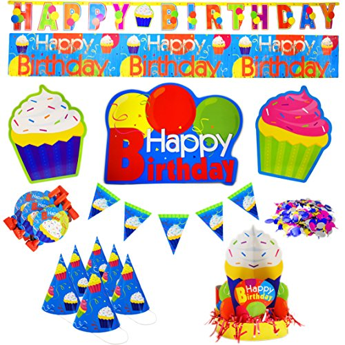 Children's 8 Piece Birthday Party Pack! Party Hats - Party Banners - Noise Maker Blow Outs - Center Pieces and More! Perfect for Birthday Parties for any Age!
