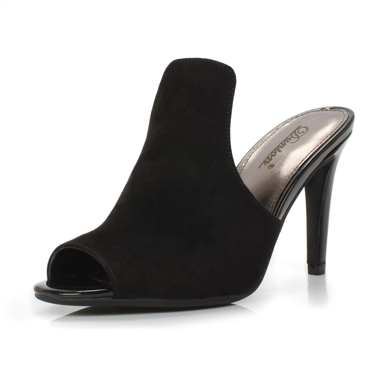 DUNION Women's Brody Comfortable Peep Toe Stiletto High Heel Dress Slip on Mules,Black,9 B(M) US