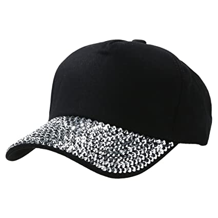 d6ed0001545 Goodfeng Girls Rhinestone Children Baseball Cap Solid Color Casual Sun  Peaked Hat Outdoor Sports Wear Cap
