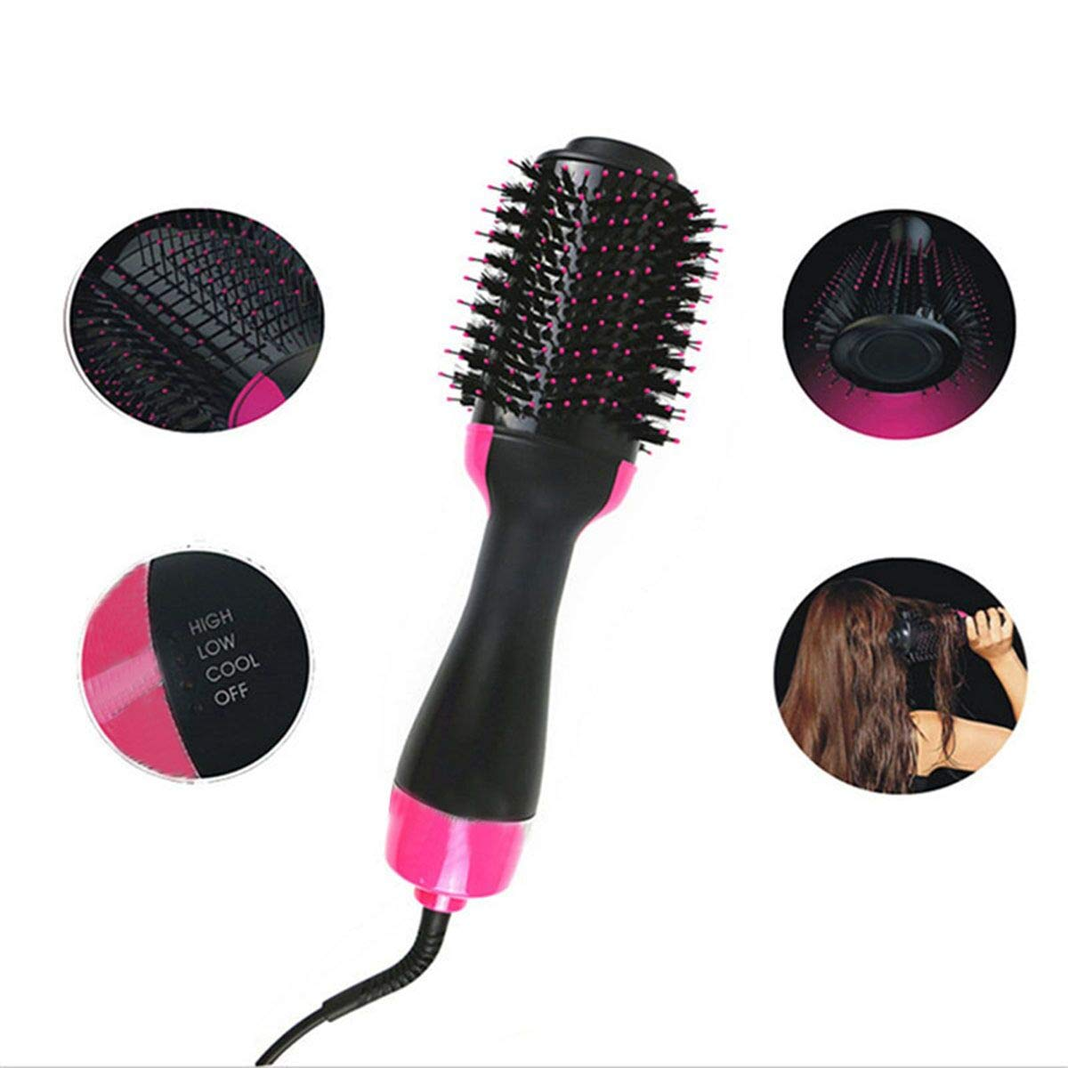 Hair Dryer Brush One Step Ionic Hair Dryer Hot Air Styling Brush 1000W 31mm Ceramic Hairdryer Comb Color A, Size 34CM8CM12CM-Europe