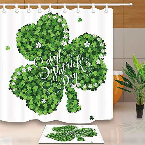 NYMB Spring Holidays Decor, Lucky Clovers for Saint Patrick's Day , 69X70in Mildew Resistant Polyester Fabric Shower Curtain Set 15.7x23.6in Flannel Non-Slip Floor Doormat Bath Rugs