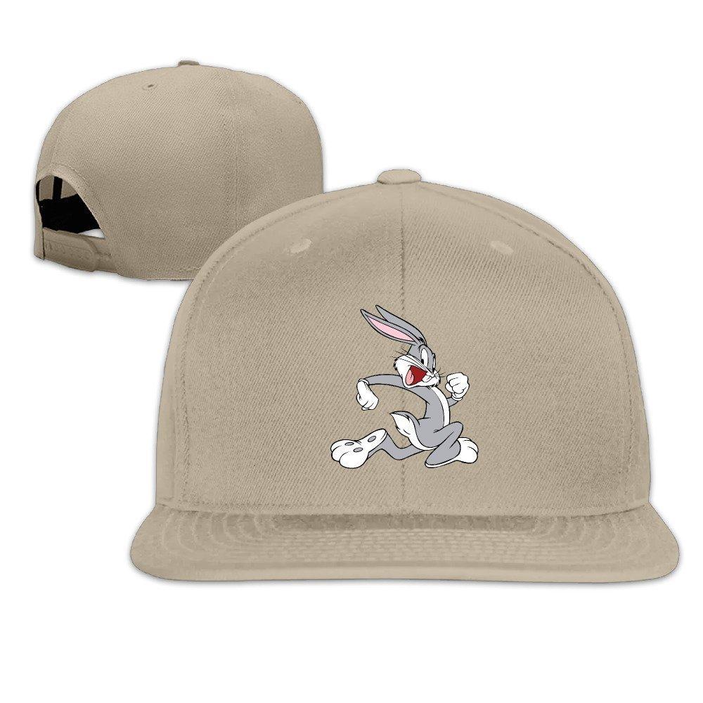 Huseki Unisex Bugs Bunny Adjustable Snapback Baseball Caps Pink One Size Natural