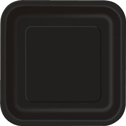 Square Black Paper Plates 14ct & Amazon.com: Square Black Paper Plates 14ct: Kitchen u0026 Dining