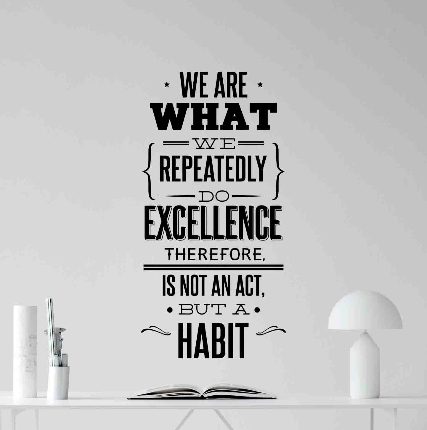 We are What We Repeatedly Do Wall Decal Office Quote Teamwork Sign Motivational Gift Inspirational Lettering Vinyl Sticker Print Business Wall Art Room Decor Poster Mural 107bar