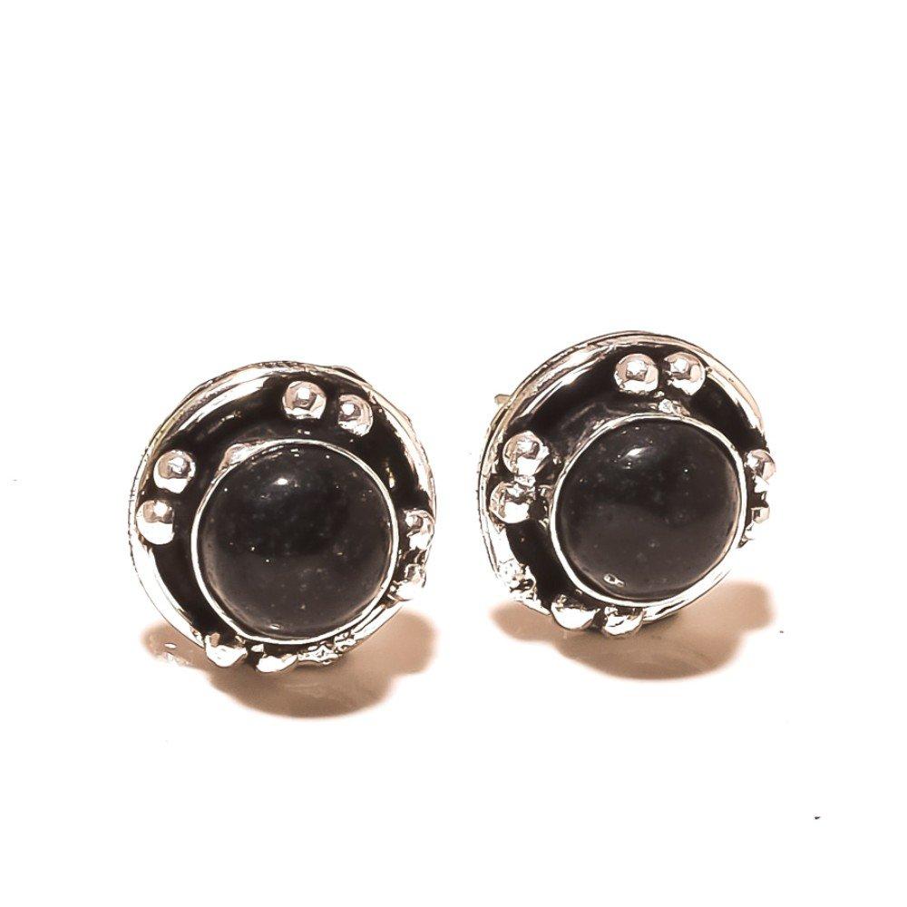 Top On Trending Black Onyx Sterling Silver Overlay 5 Grams Stud//Earring 12 mm