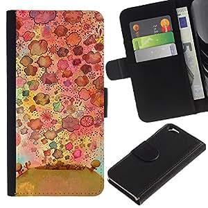 Be Good Phone Accessory // Caso del tirón Billetera de Cuero Titular de la tarjeta Carcasa Funda de Protección para Apple Iphone 6 4.7 // Flowers Nature Drawing Pattern