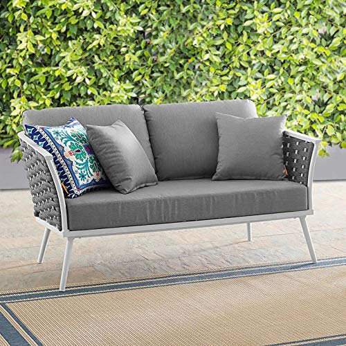 Modway EEI-3019-WHI-GRY Stance Outdoor Patio Aluminum Loveseat in White Gray