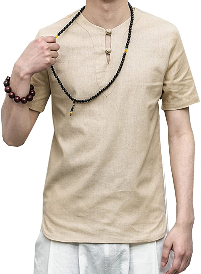 Rrive Men Chinese Style Frog Button Casual Short Sleeve Big and Tall Shirts