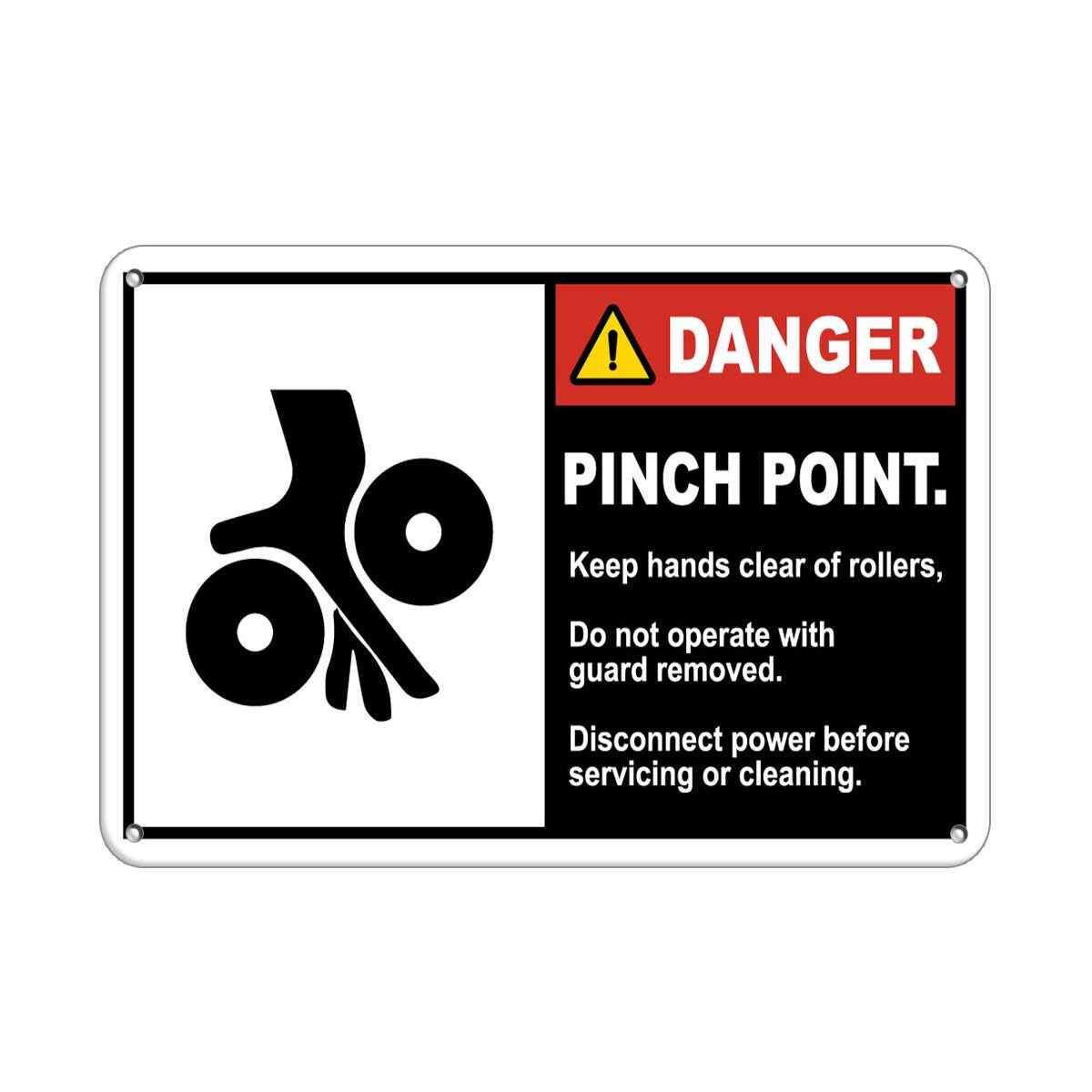 Pinch Point Keep Hands Clear Operate Machines With Guard LABEL DECAL STICKER Sticks to Any Surface 10x7