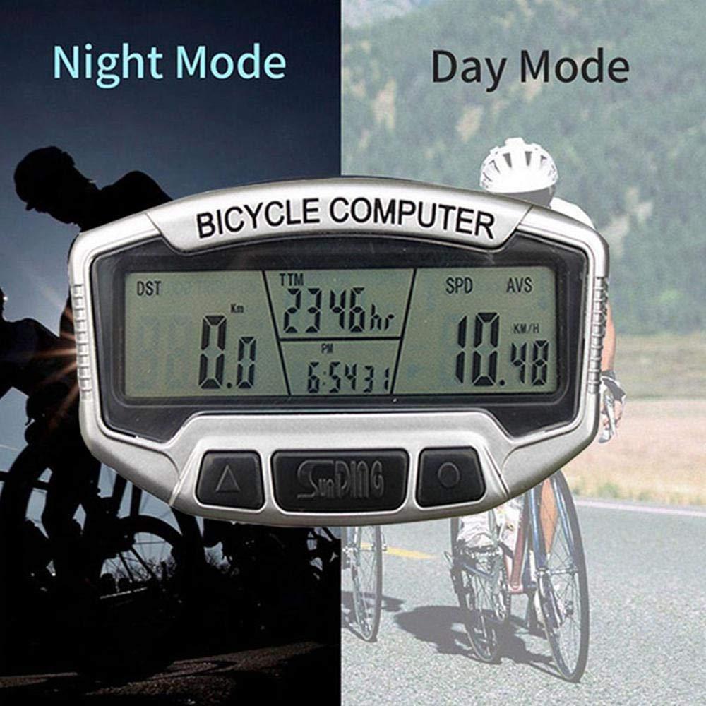 MOGOI Bike Odometer, Bicycle Speedometer Luminous Digital Multi-Functions Waterproof Temperature Cycling Computers for Mountain Bike Spin Bike Indoor/Outdoor Exerciser