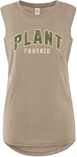 product image for Soul Flower Women's Organic Cotton Plant Powered Muscle Tank Top, Tan Long Graphic Yoga Top, Sleeveless Ladies Shirt