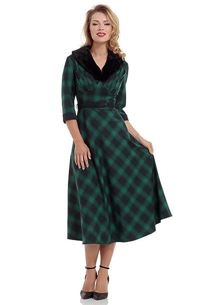 Vestido Lola de estilo Vintage de los 40s de Voodoo Vixen - Verde & Azul (