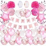 Korins Kit Decoración Fiesta Cumpleaños Niña - Pancarta Happy Birthday, Pompones de Papel, Globos, Globos Confeti, Serpentina