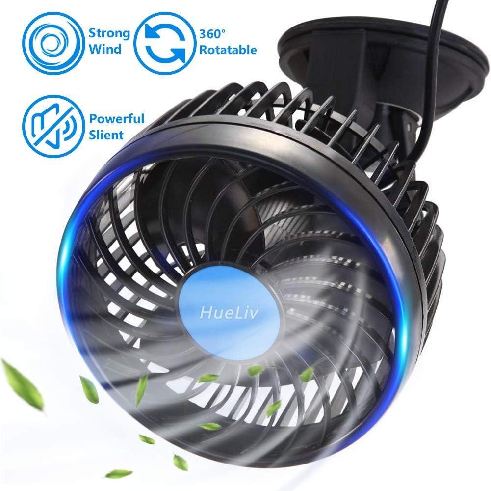 HueLiv Ventilador de Coche, Ajustable Ventilador Eléctrico con Ventosa Poderoso Silencioso Cambio de Velocidad sin Escalonamientos Rotativo 12V Ventiladores de Coches del Verano de Refrigeración
