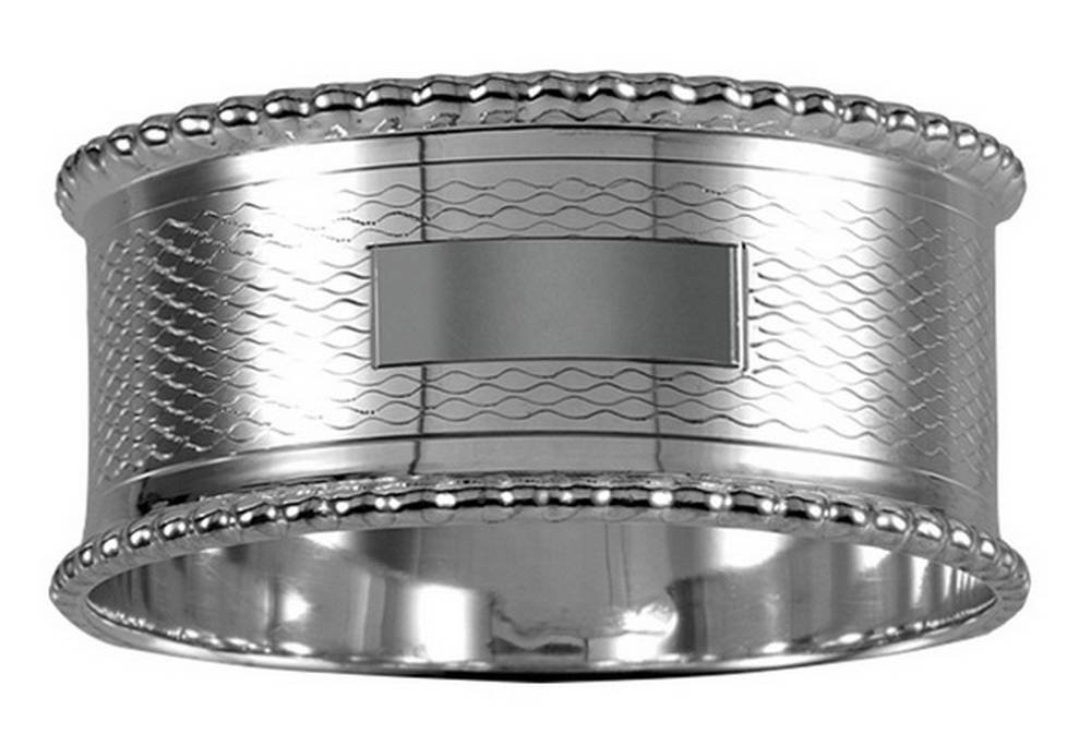 Silver Engraved Round Napkin Ring by Orton West