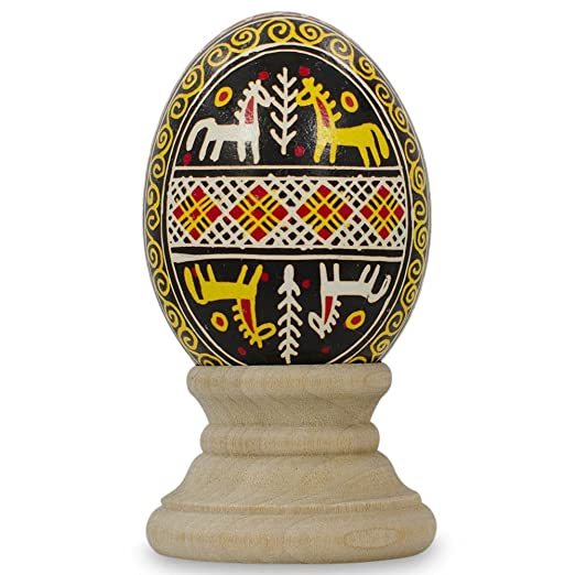 Horses Chicken Size Blown Real Ukrainian Easter Egg Pysanky