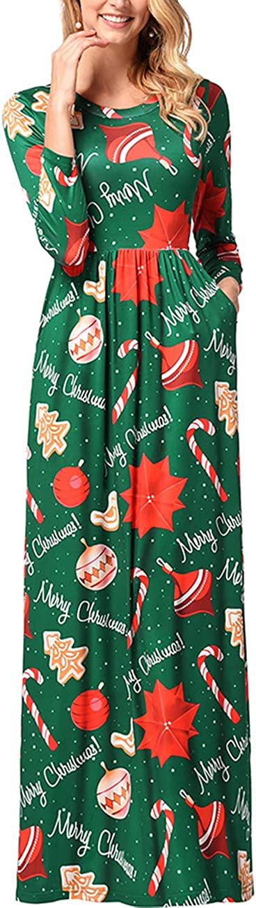 TALLA XL=ES 46-48. FeelinGirl Mujeres Vestido Largo Estampado Floral de Fiesta Navidad Falda Maxi de Manga Larga Nochebuena Verde-54 XL=ES 46-48