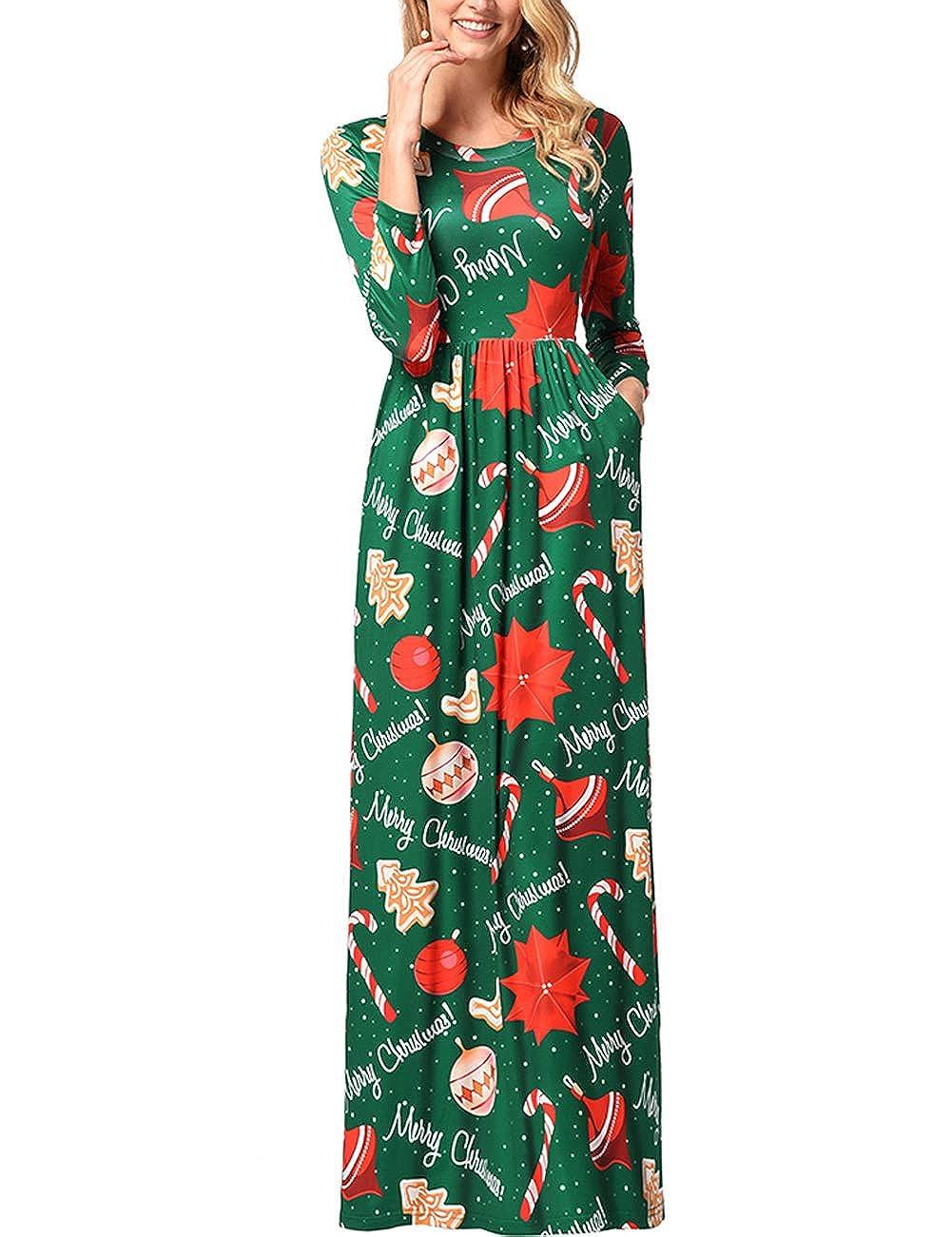 TALLA L=ES 44-46. FeelinGirl Mujeres Vestido Largo Estampado Floral de Fiesta Navidad Falda Maxi de Manga Larga Nochebuena Verde-54 L=ES 44-46
