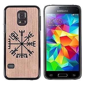 - / Nordic Viking Compass North - - Funda Delgada Cubierta Case Cover de Madera / FOR Samsung Galaxy S5 Mini G870a / Jordan Colourful Shop/