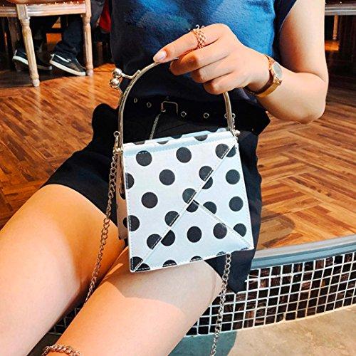 Bovake Petit à Sac Chaîne Point Bandoulière Mode Sac Blanc Hasp Messenger Femme rqrx0B