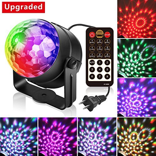 Alviller Party Lights, Led Disco Ball Lights DJ Light Mirror Ball Sound Activated Strobe Light 9 Modes Stage Par Karaoke Lights Lamp with Remote for Kids Birthday Christmas Dance Party Club Wedding for $<!--$22.99-->