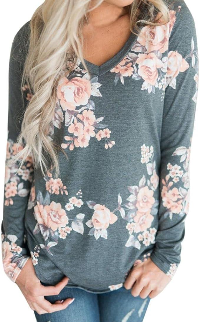 Fashion Women/'s Loose Froal Long Sleeve Shirt Autumn Casual Blouse Tops T-Shirt