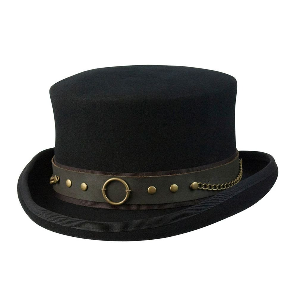 Cov-ver Hats, Australian Wool Steam-Punk Top Hat With Brass Rings, Black, X-Large