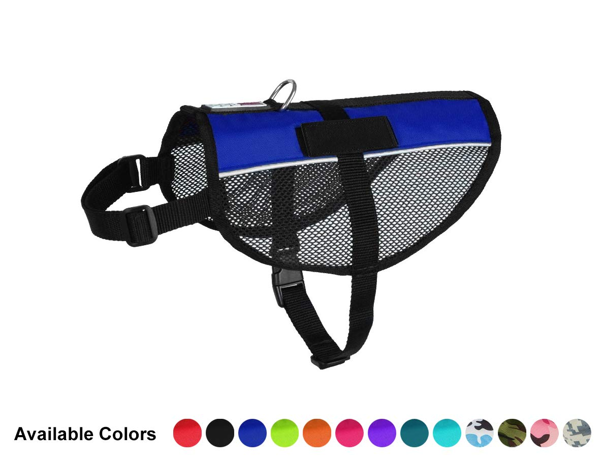 Dogline MaxAire Multi-Purpose Mesh Vest for Dogs and 2 Removable Blank Patches, Large, bluee