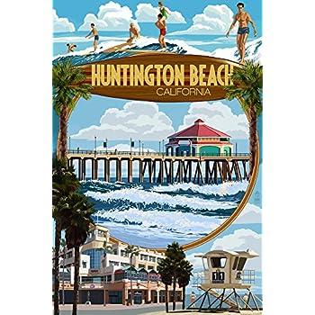 Huntington Beach, California - Montage Scenes (9x12 Art Print, Wall Decor Travel Poster)