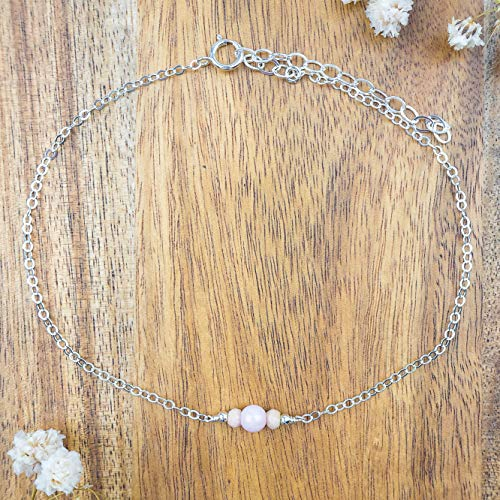 Dainty crystal pink peruvian opal anklet in 925 sterling silver - 8