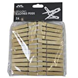 JVL Strong Wooden Retro Vintage Clothes Pegs - 24 Pieces
