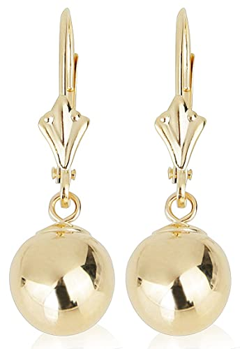 70cfdee89 Amazon.com: 14k Yellow Gold Drop Earrings with Round Gold Ball (Leverback Ball  Earrings, Balls Available in 5-8 mm Sizes, Gift Box Included with Earrings)  ...