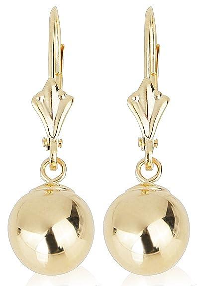 18dd7fbbd751 14 K Amarillo Oro Pendientes De Gota Con redondo oro Ball (bola de palanca  Back