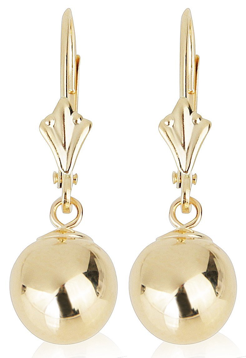 14k Yellow Gold Drop Earrings with Round Gold Ball (Leverback Ball Earrings, Balls Available in 5-8 mm Sizes, Gift Box Included with Earrings) (6 mm)