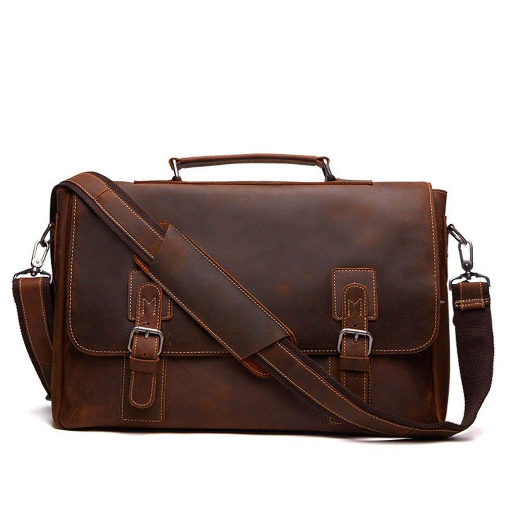 Amyannie Laptop Messenger Bag Mens Vintage Leather Briefcase for Business Tote Messenger Bag 15.6 inch Laptop Handbag (Color : Brown) by Amyannie (Image #1)