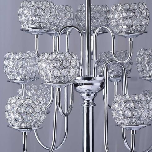 Efavormart 39.5'' Silver Crystal Beaded 13 Arm Candelabra Chandelier Votive Candle Holder Wedding Centerpiece by Efavormart.com (Image #3)